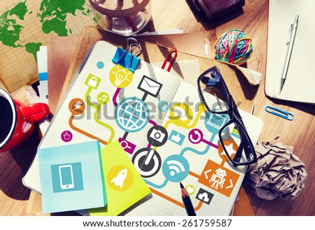 Businessman Planning Global Communications Networking Notepad Online Concept - stock photo
