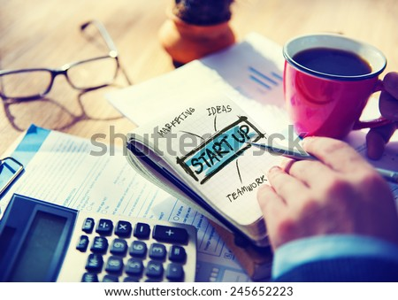 Businessman Planning Startup Business Concept - stock photo