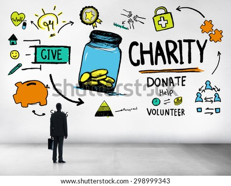 Businessman Planning Strategy Give Help Donate Charity Concept - stock photo