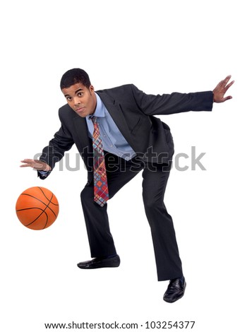 Businessman playing basket isolated in white - stock photo
