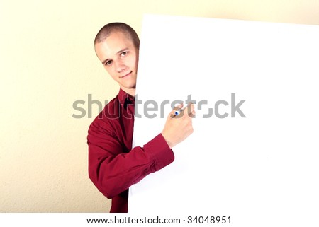 Businessman point at the demonstration table - stock photo