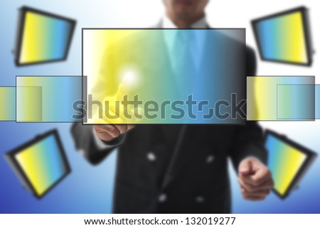 businessman point on monitor. - stock photo