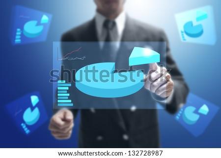 businessman point on virtual monitor. - stock photo