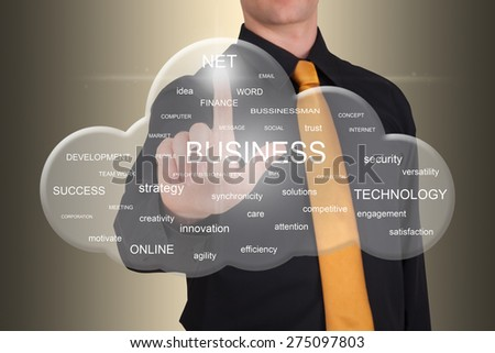 Businessman pointing a cloud full of business-related words - stock photo