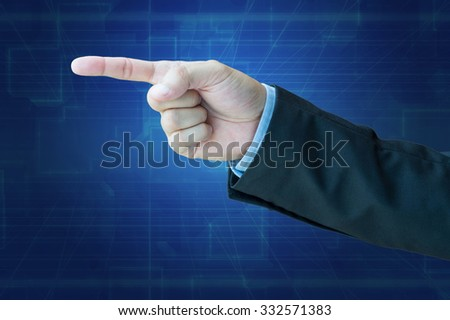 Businessman pointing with clipping path - stock photo