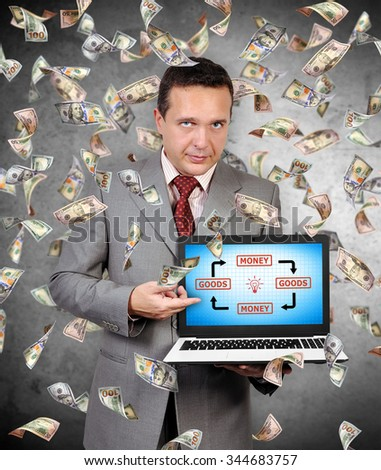 businessman points a finger at laptop monitor on which a goods and money diagram - stock photo