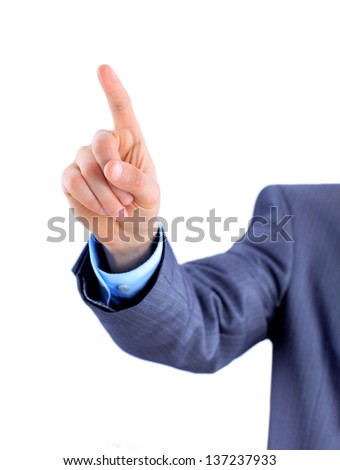 Businessman points his finger. - stock photo
