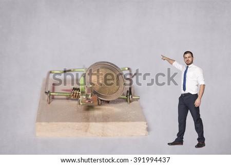businessman points target - stock photo