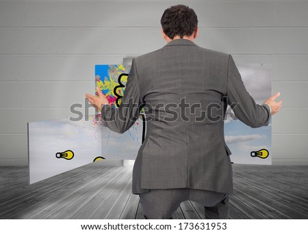 Businessman posing with hands out against open door leading to bright window - stock photo