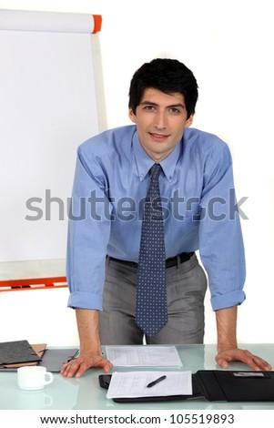 Businessman preparing a  presentation - stock photo