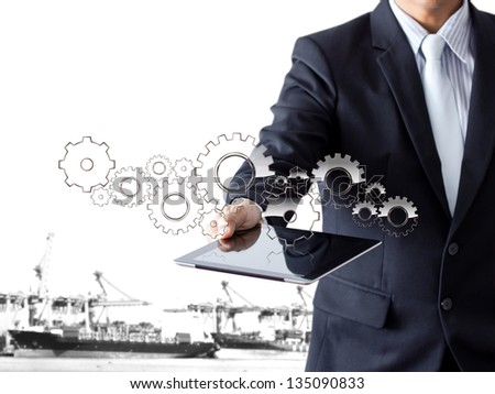 businessman present gear with tablet - stock photo