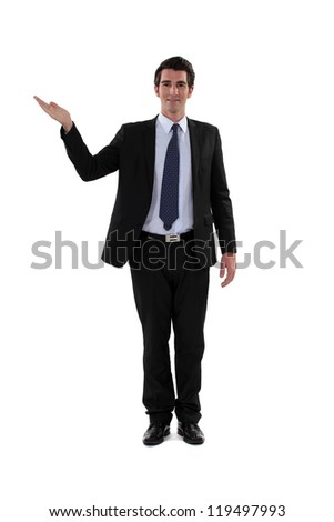 Businessman presenting. - stock photo