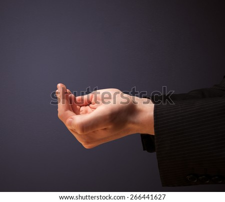 Businessman presenting empty space - stock photo
