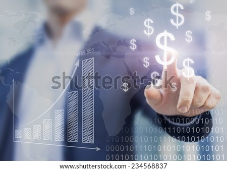 Businessman presenting financial analysis with charts generated by big data displaying international success and dollar signs - stock photo