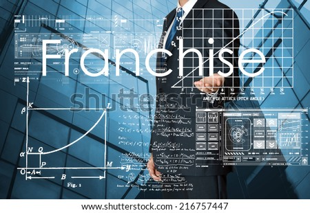 businessman presenting Franchise text and graphs and diagrams with skyscraper in background - stock photo