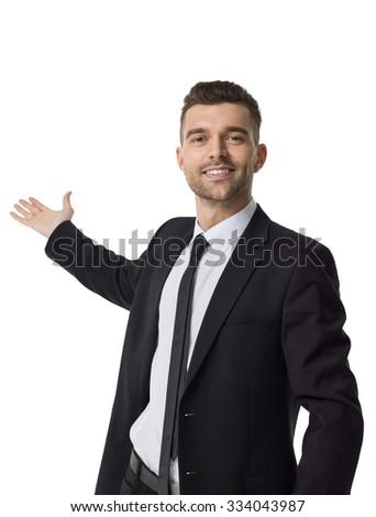 Businessman presenting something Closeup Portrait isolated on White Background - stock photo