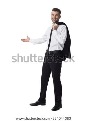 Businessman presenting something Full Length Portrait isolated on White Background - stock photo