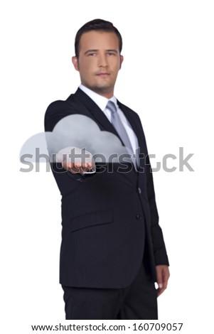 Businessman presents you new big cloud technology - stock photo