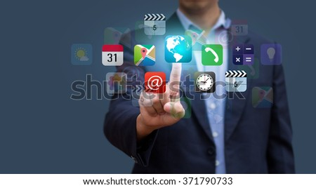 Businessman press app icon. Design concept of application technology and human. Social network. E-commerce. Technology and Communication. Application Surround human life. - stock photo
