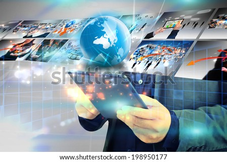 businessman press business world  - stock photo