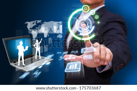 businessman press on icon for financial - stock photo