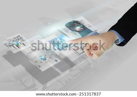 Businessman press virtual screen.business concept,technology - stock photo