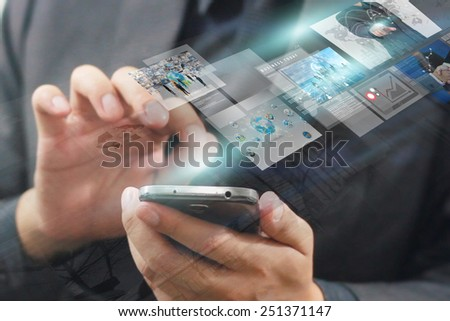 Businessman press virtual screen.business concept,technology - stock photo