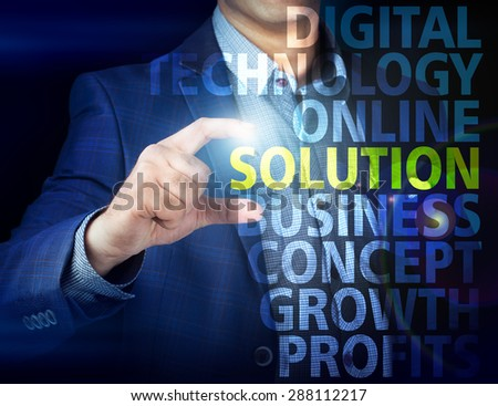 Businessman presses button  solution on virtual screens. Business, technology, internet and networking concept. - stock photo