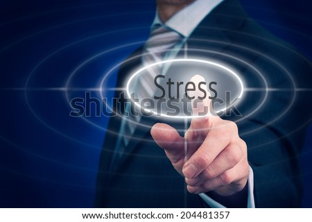 Businessman pressing a Stress concept button. - stock photo