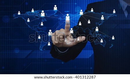 Businessman pressing businessman icon with light blue world map connection on digital map, Elements of this image furnished by NASA - stock photo