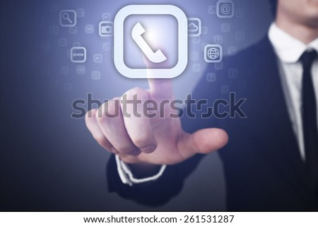 Businessman pressing button on touch screen interface and select call and support.   business concept. - stock photo