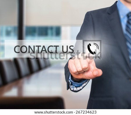 Businessman pressing button on virtual screens. Isolated on office. Business, technology and internet concept - Stock Image - stock photo