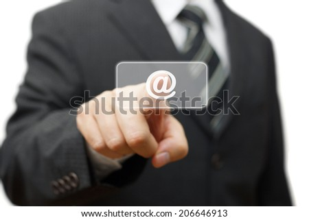 businessman pressing email sign virtual button, email communication concept - stock photo