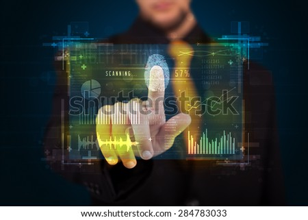 Businessman pressing modern technology panel with finger print reader  - stock photo
