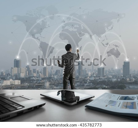 Businessman pressing on digital virtual screen, globalization marketing conceptual - stock photo