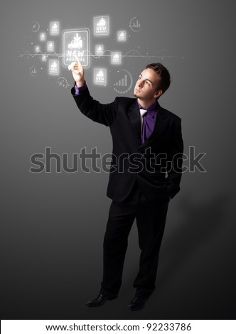 Businessman pressing promotion and shipping type of modern buttons - stock photo