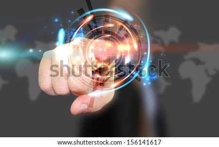 Businessman pressing social media button - stock photo