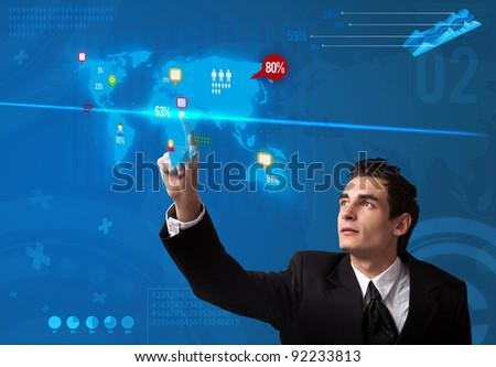 Businessman pressing social media button on digital map, futuristic technology - stock photo