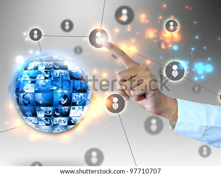 Businessman pressing social network - stock photo