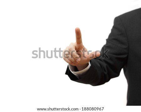 Businessman pressing virtual button, ready for  text - stock photo