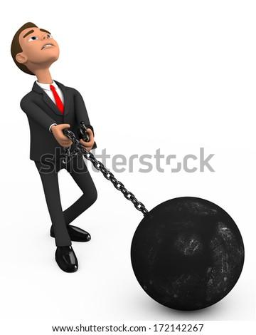 businessman prisoner on a white background - stock photo
