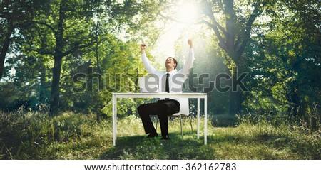 Businessman Professional Executive Conservative Think Concept - stock photo
