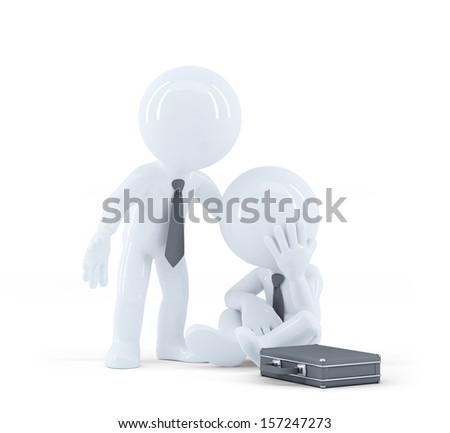 Businessman provides support to a colleague. Problems at work concept. Isolated - stock photo