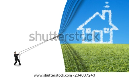 businessman pull house shape cloud curtain covered blank behind isolated on white background - stock photo