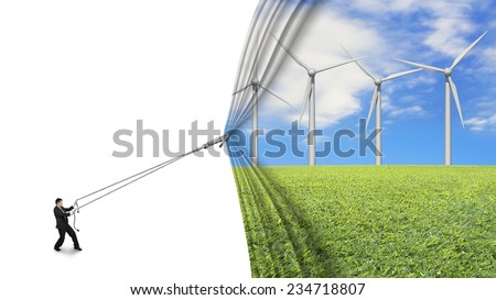 businessman pull open wind turbines curtain covering blank white background, environmental protection and alternative energy concept - stock photo