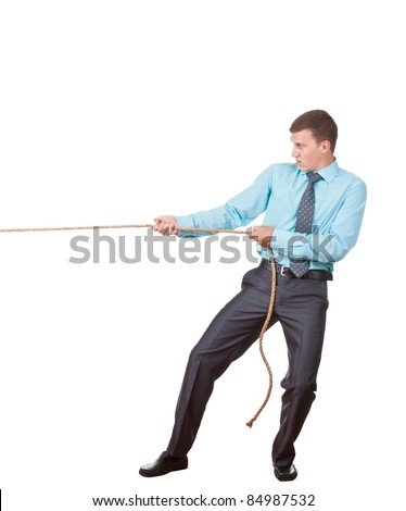 Businessman pulling a rope isolated on white background, series photo - stock photo