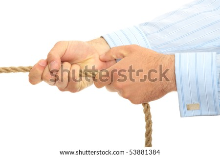 Businessman pulling on a piece of rope. Isolated on white - stock photo