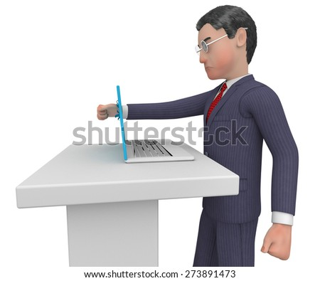 Businessman Punches Laptop Showing Technology Anger And Rage - stock photo