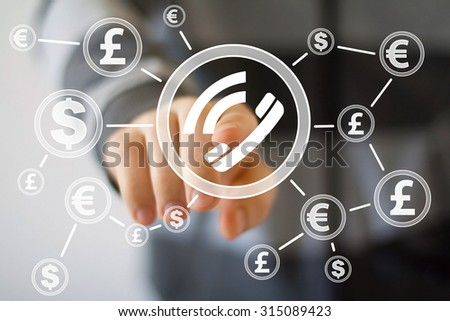 Businessman push button telephone with dollar web currency - stock photo
