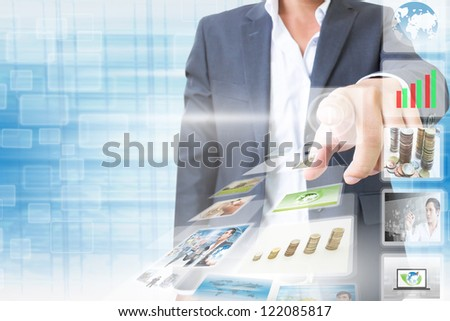 Businessman Pushing Button - stock photo